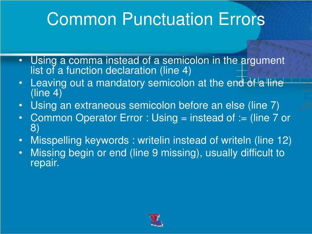 Common Punctuation Errors