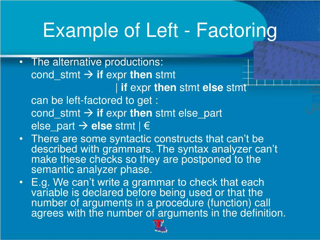Example of Left - Factoring