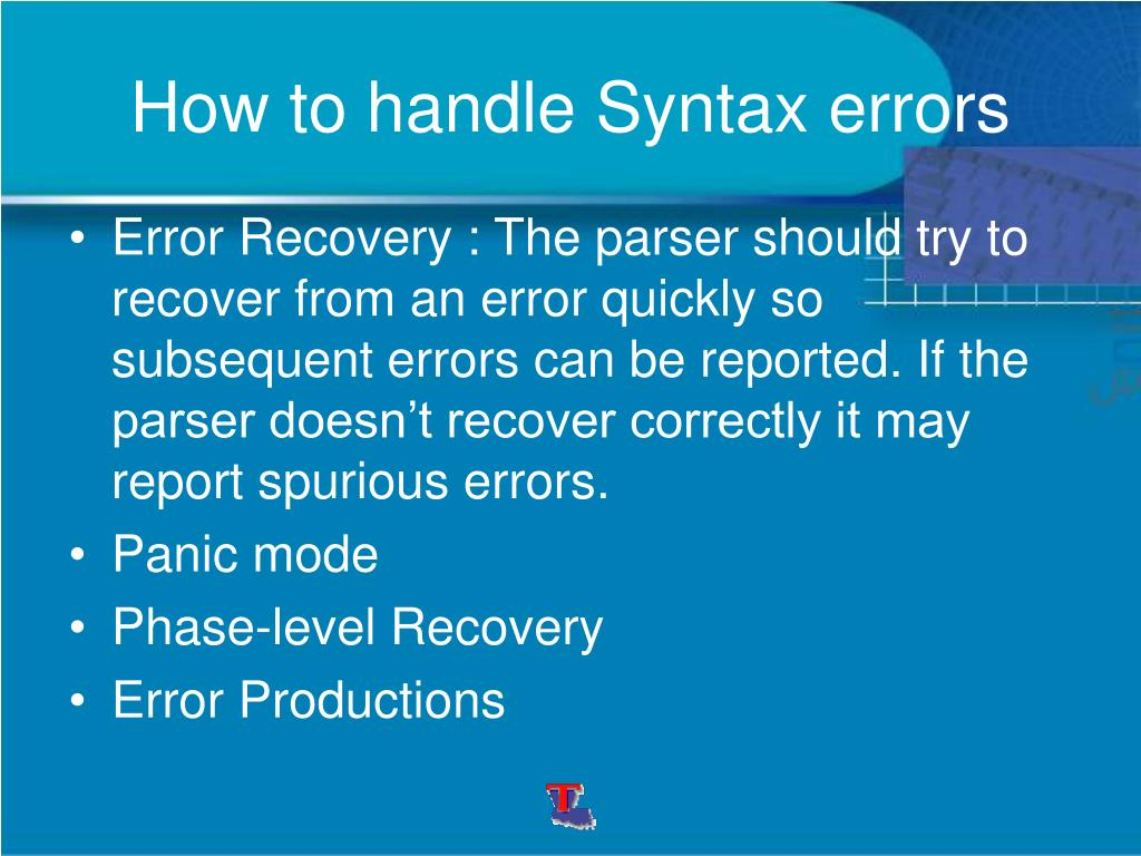 How to handle Syntax errors