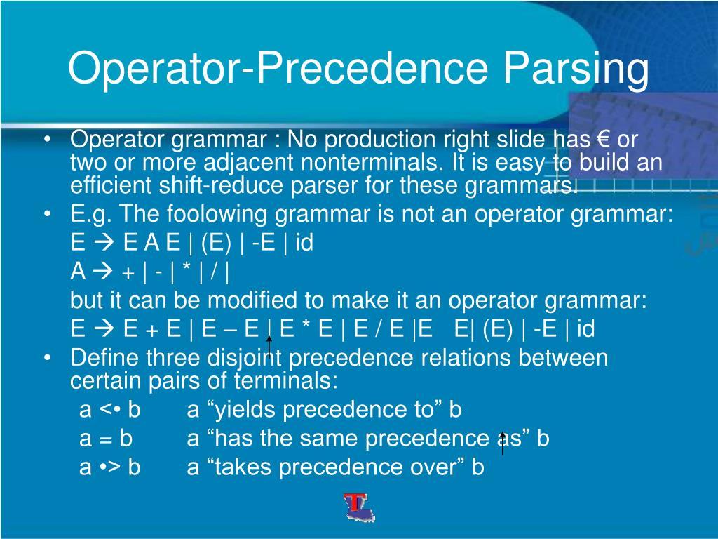 Operator-Precedence Parsing