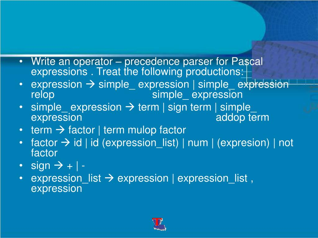 Write an operator – precedence parser for Pascal expressions . Treat the following productions: