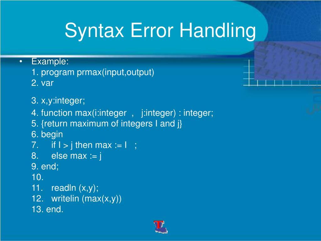 Syntax Error Handling