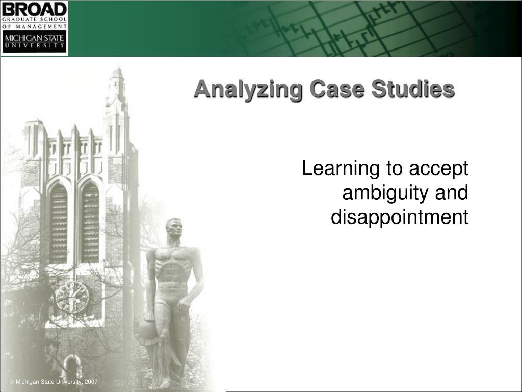 Analyzing Case Studies
