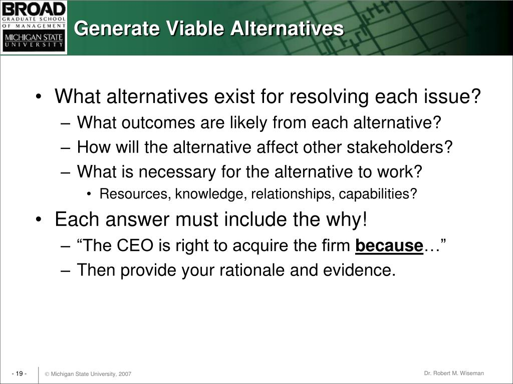 Generate Viable Alternatives