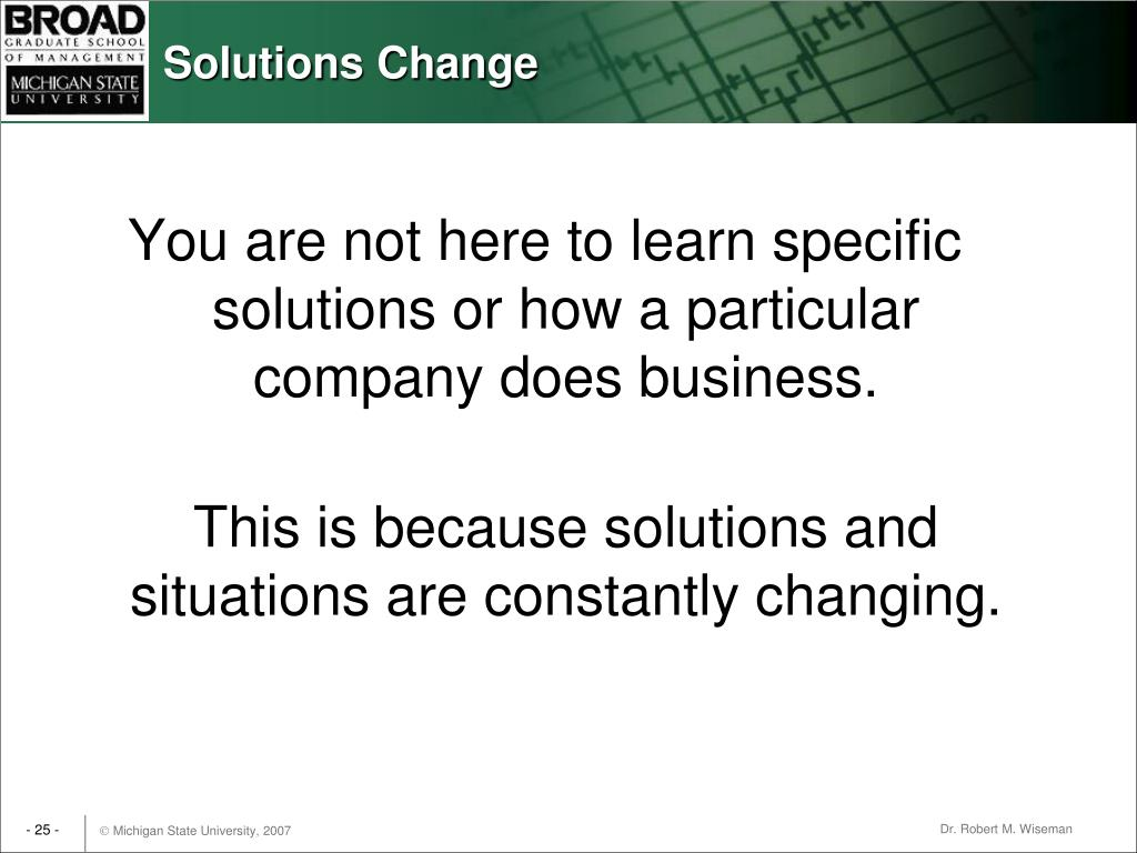Solutions Change