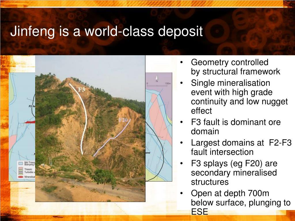 Jinfeng is a world-class deposit