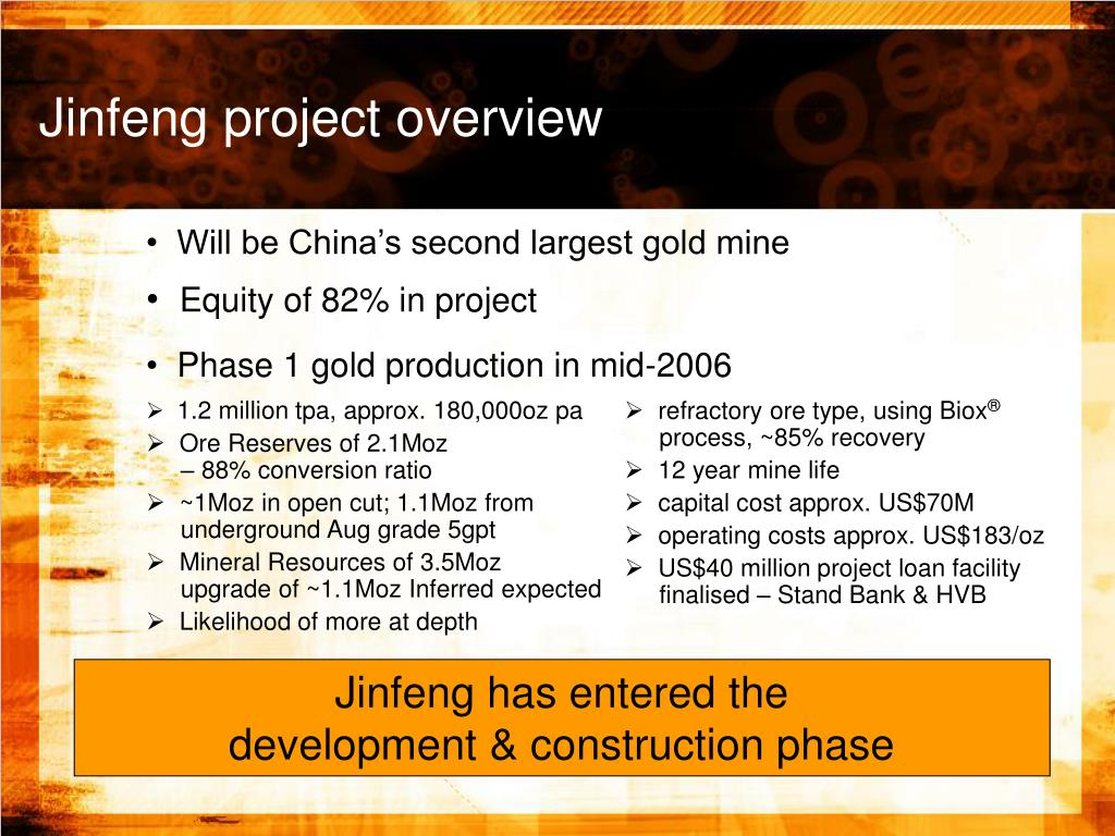 Jinfeng project overview
