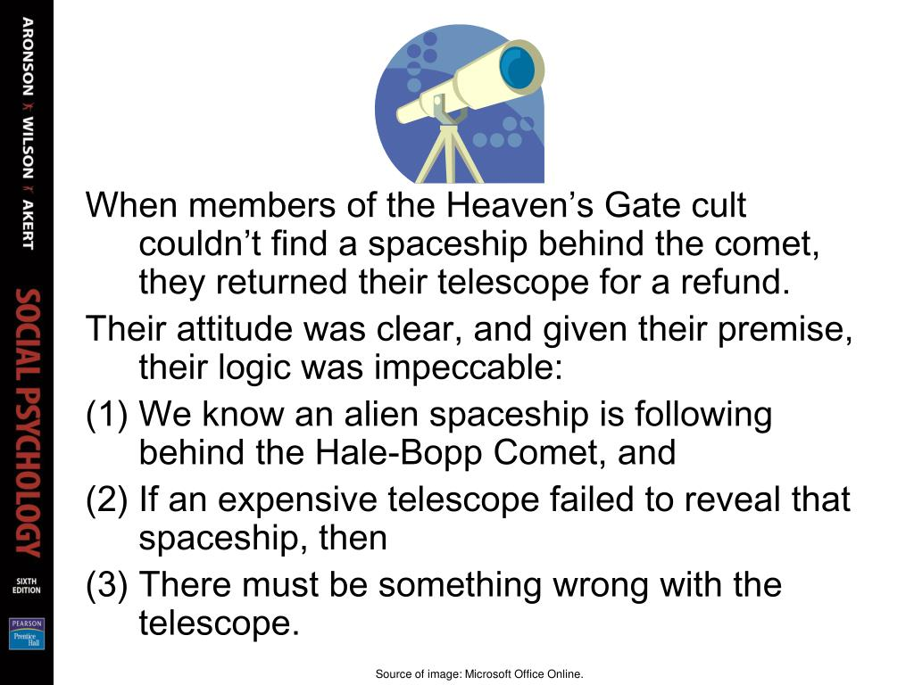 When members of the Heaven's Gate cult couldn't find a spaceship behind the comet, they returned their telescope for a refund.