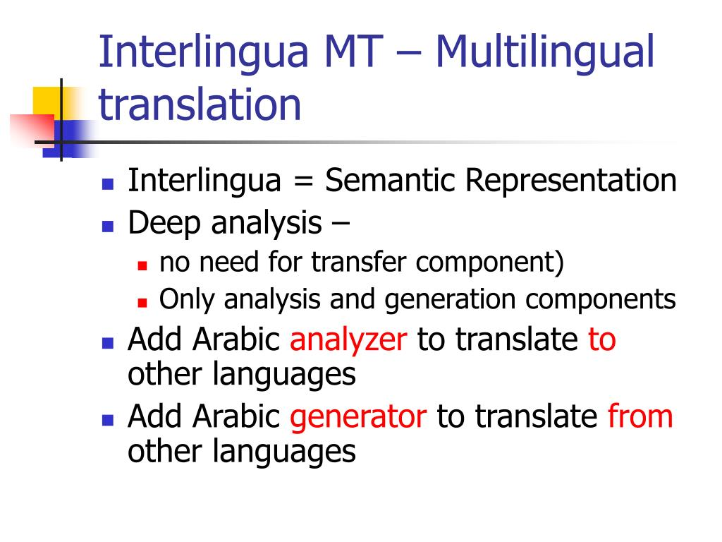 Interlingua MT – Multilingual translation