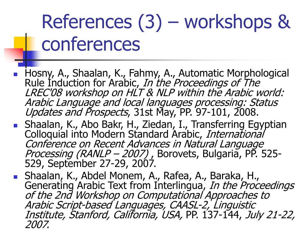 References (3) – workshops & conferences