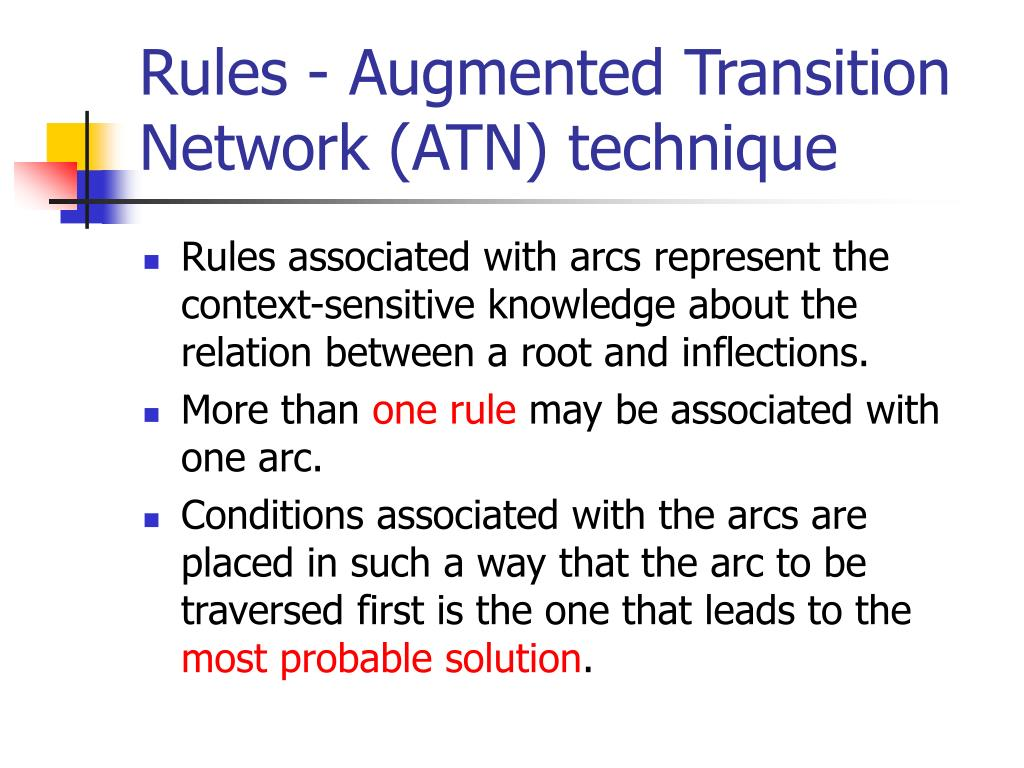 Rules - Augmented Transition Network (ATN) technique
