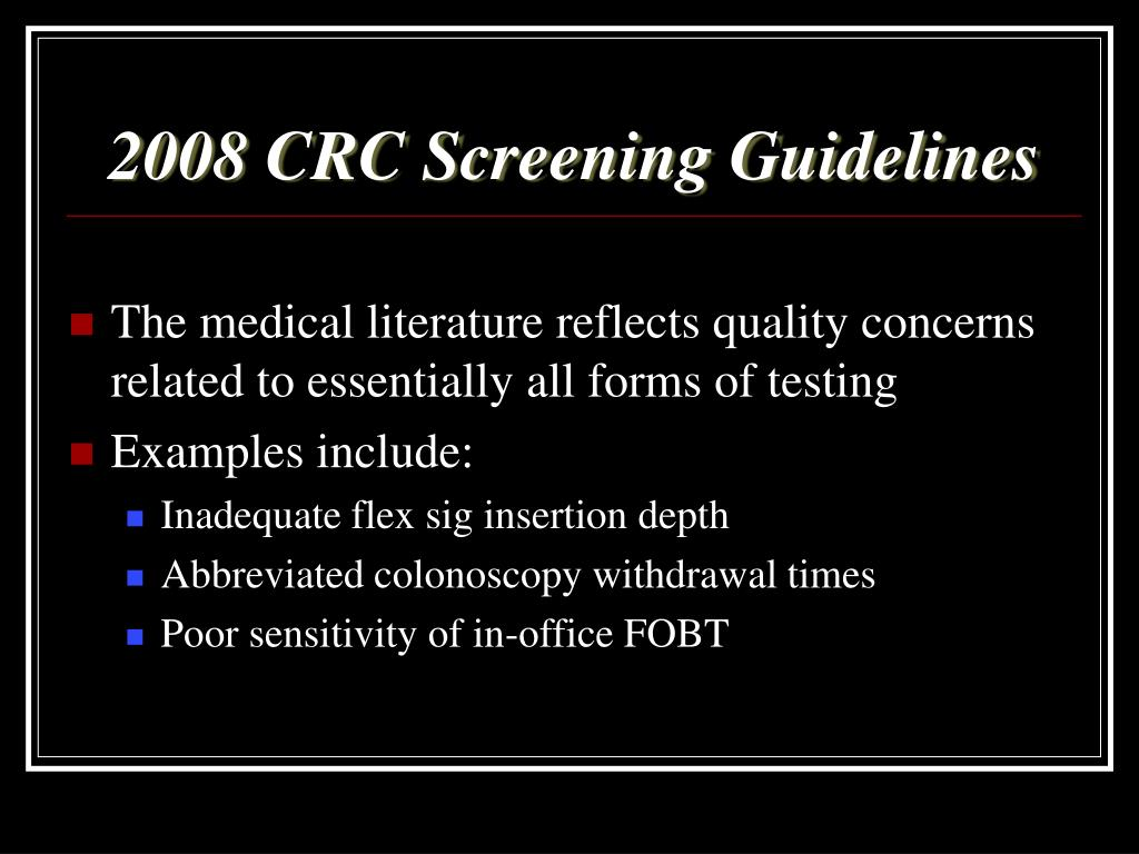2008 CRC Screening Guidelines