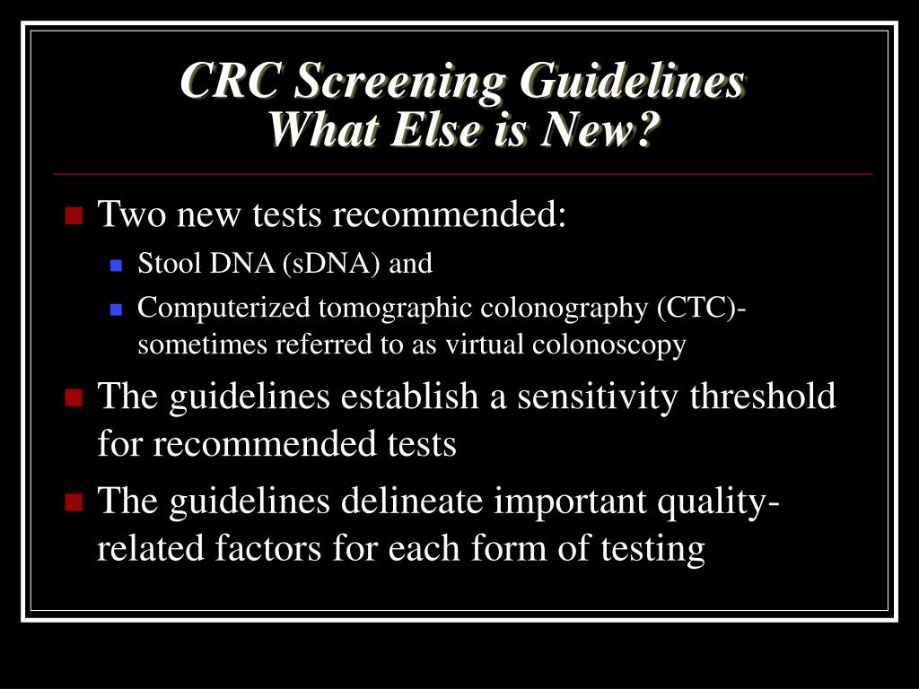 CRC Screening Guidelines