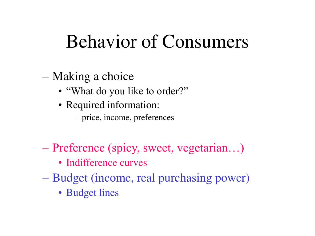 Behavior of Consumers