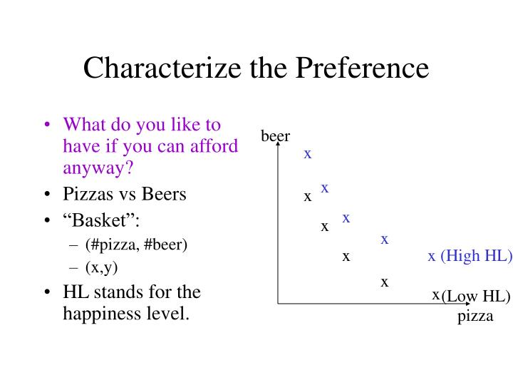 Characterize the preference