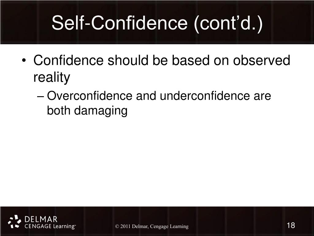 Self-Confidence (cont'd.)