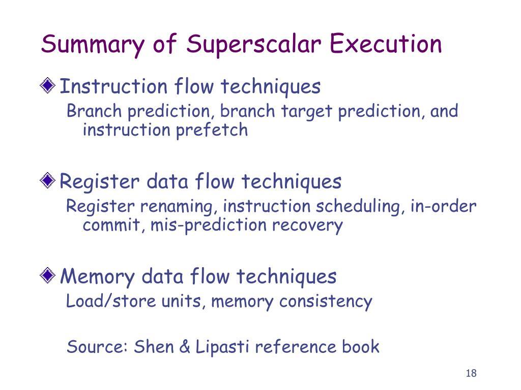Summary of Superscalar Execution