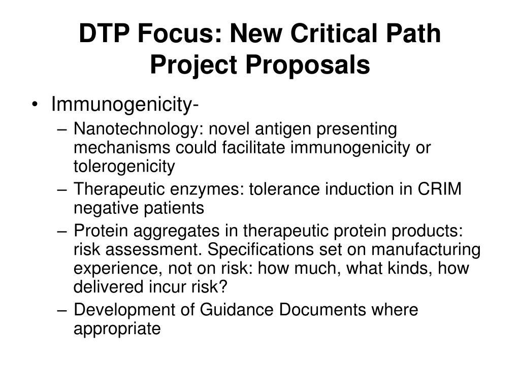 DTP Focus: New Critical Path Project Proposals