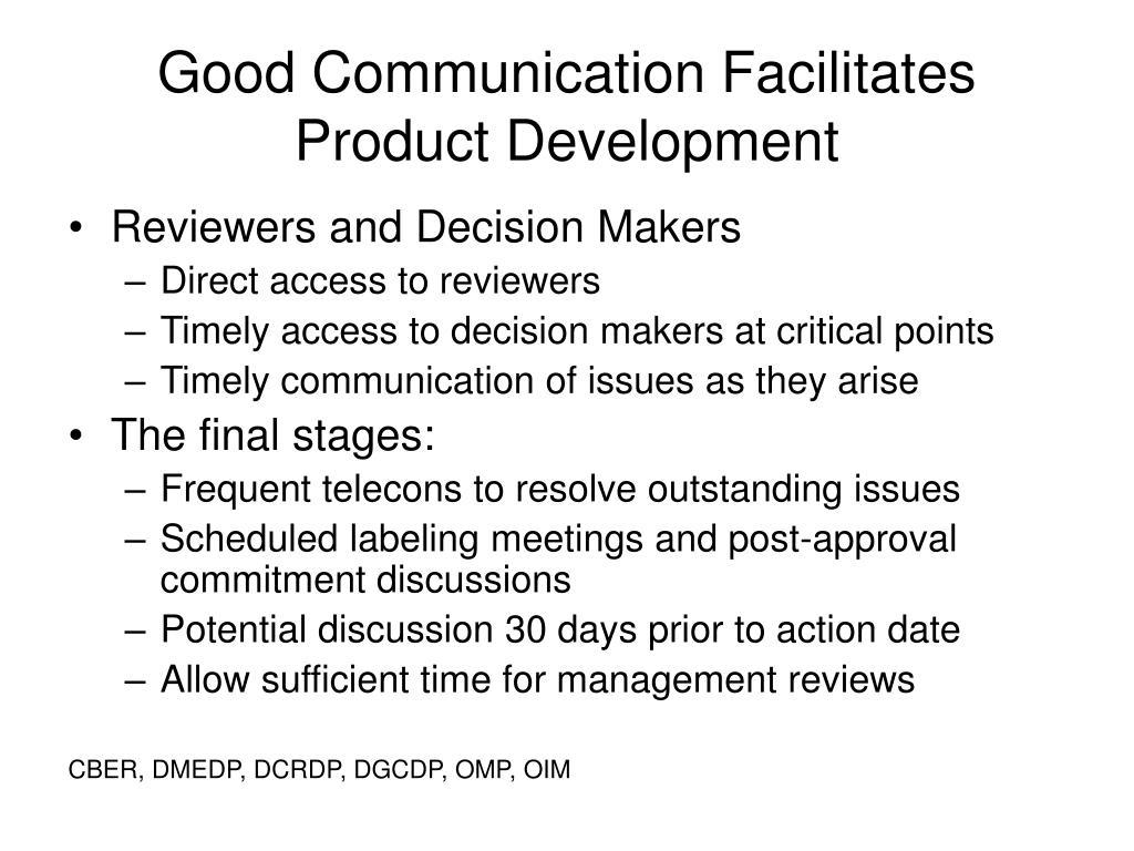 Good Communication Facilitates Product Development