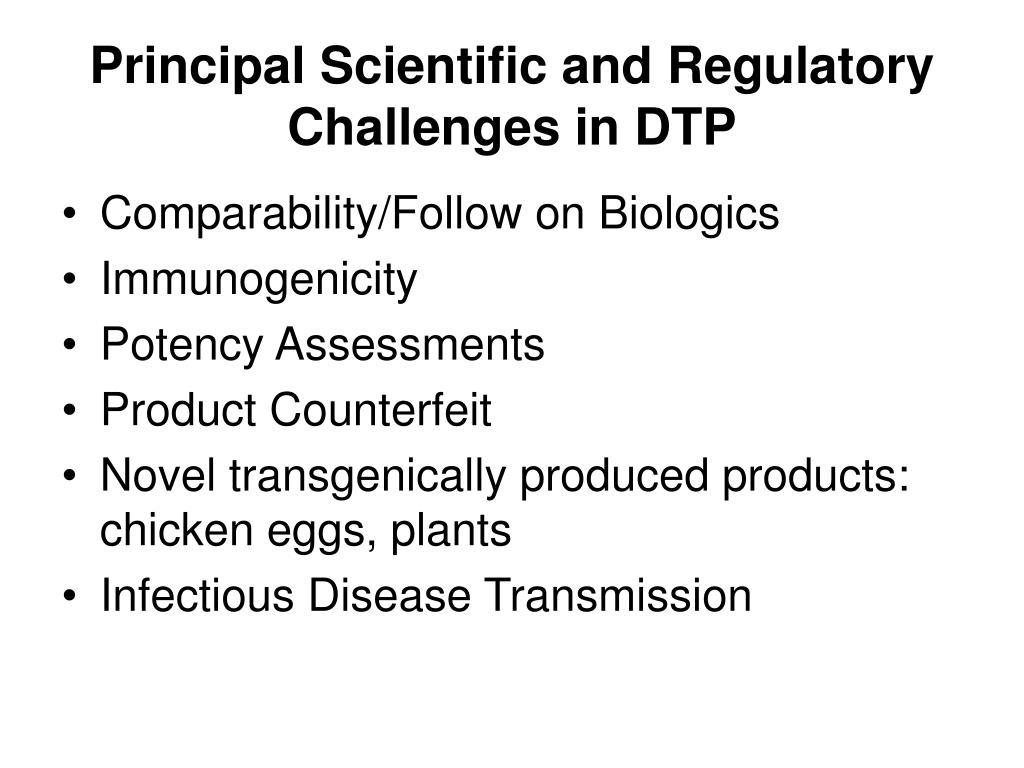 Principal Scientific and Regulatory Challenges in DTP