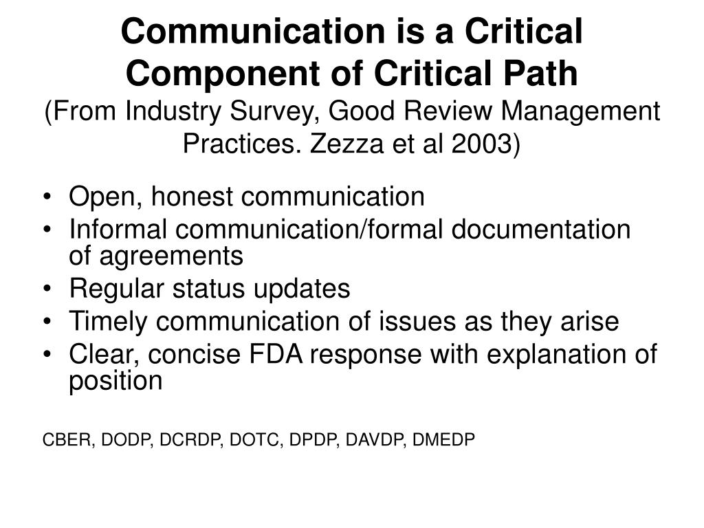 Communication is a Critical Component of Critical Path