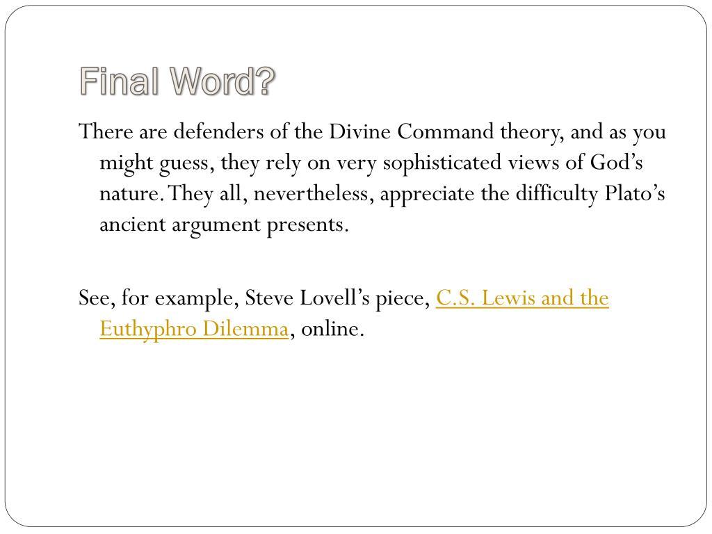 Final Word?