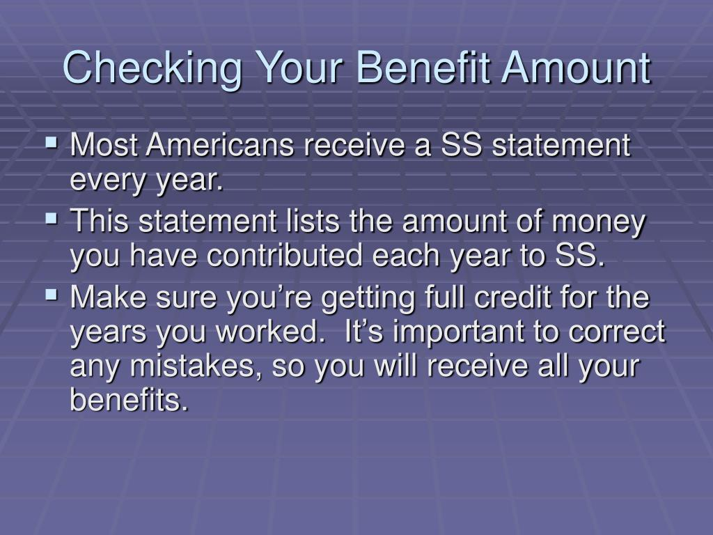 Checking Your Benefit Amount