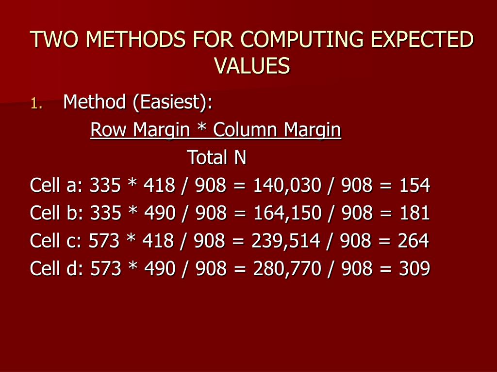 TWO METHODS FOR COMPUTING EXPECTED VALUES