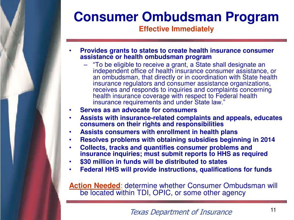 Consumer Ombudsman Program