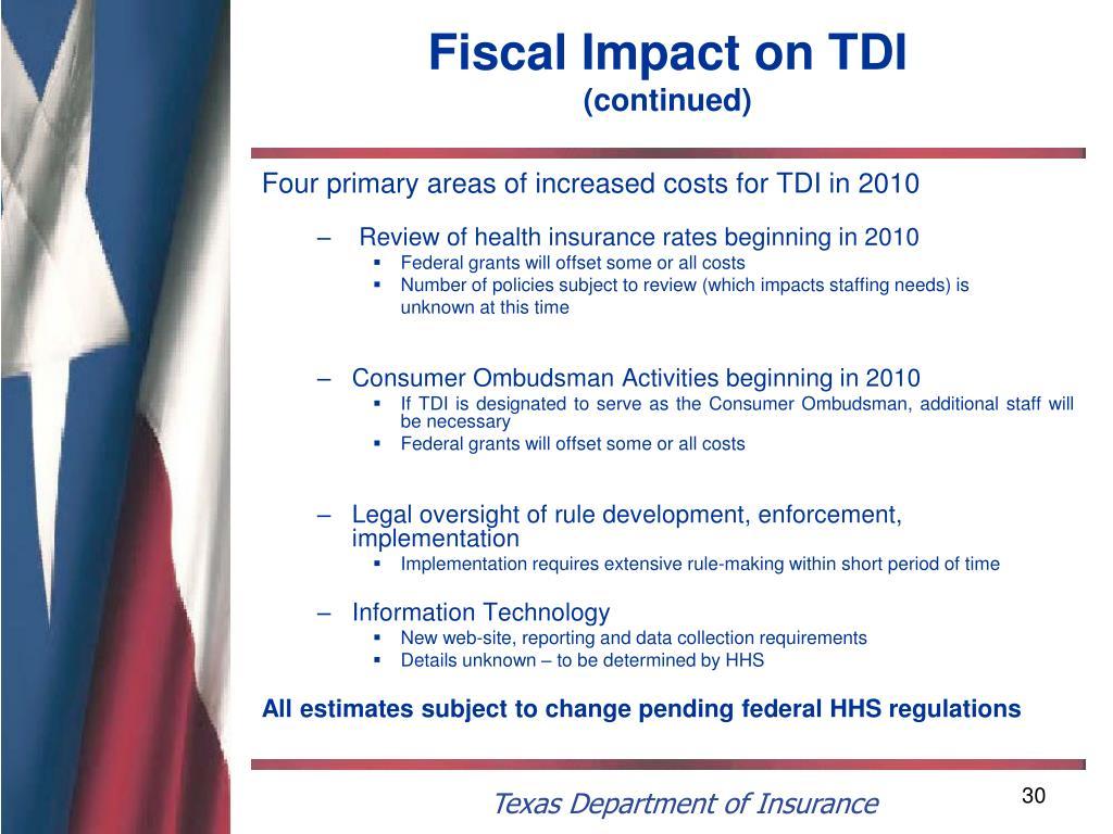 Fiscal Impact on TDI