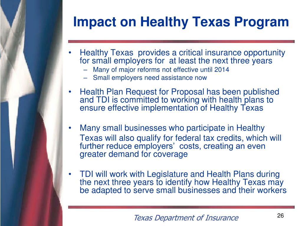 Impact on Healthy Texas Program