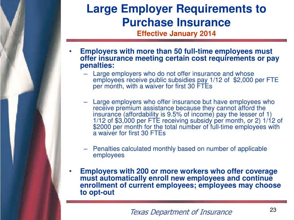 Large Employer Requirements to