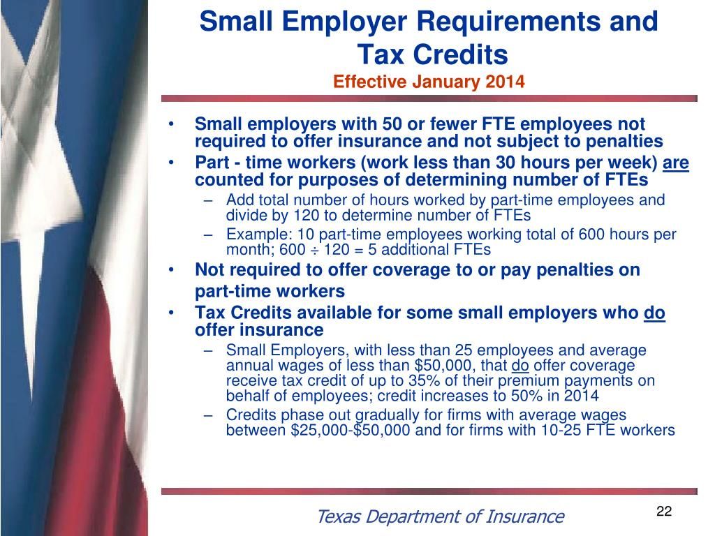 Small Employer Requirements and