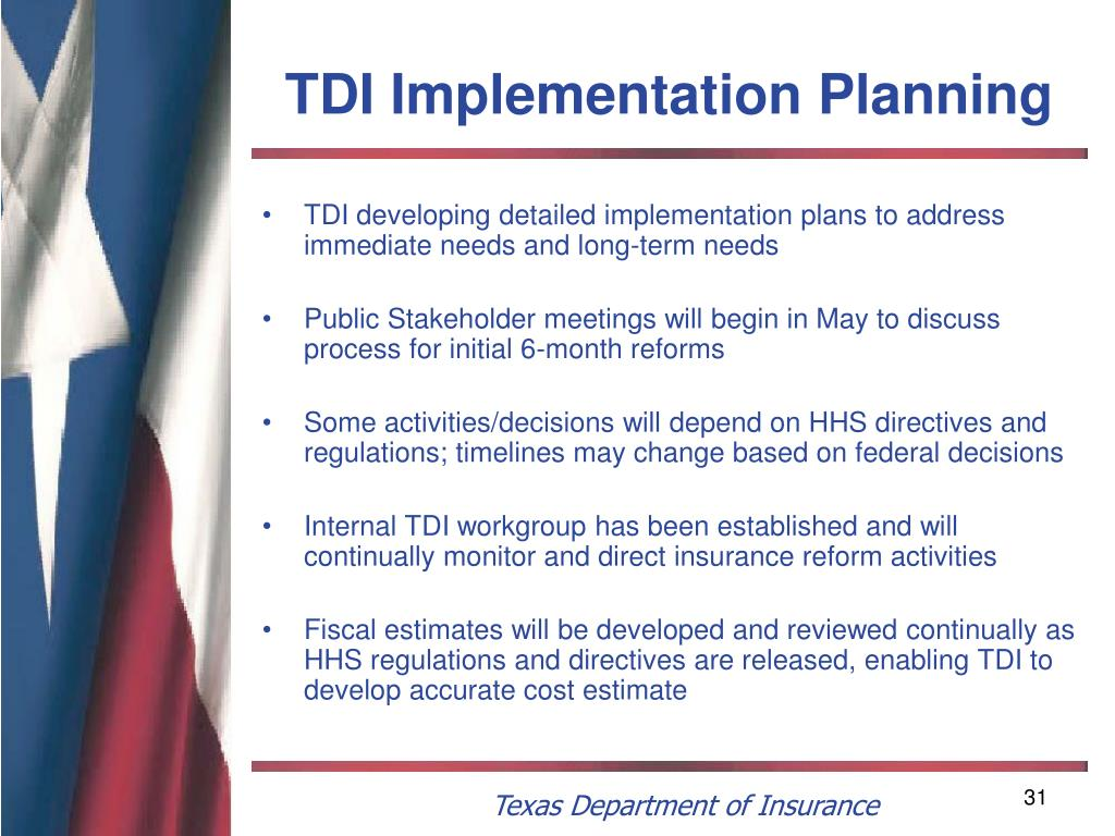 TDI Implementation Planning