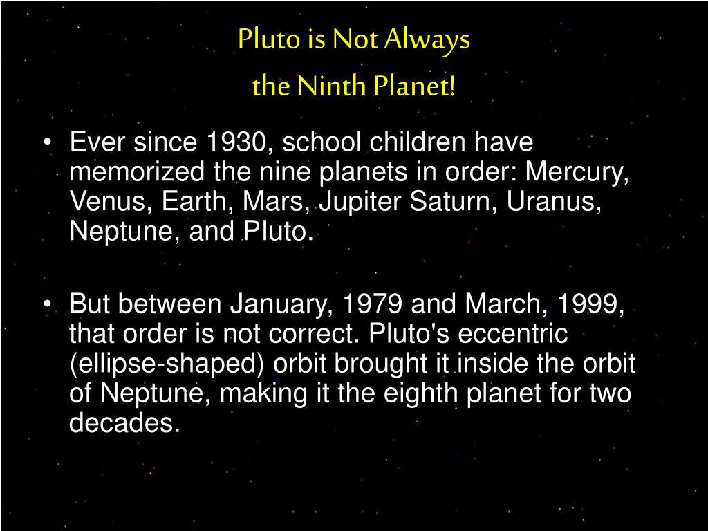 Pluto is Not Always