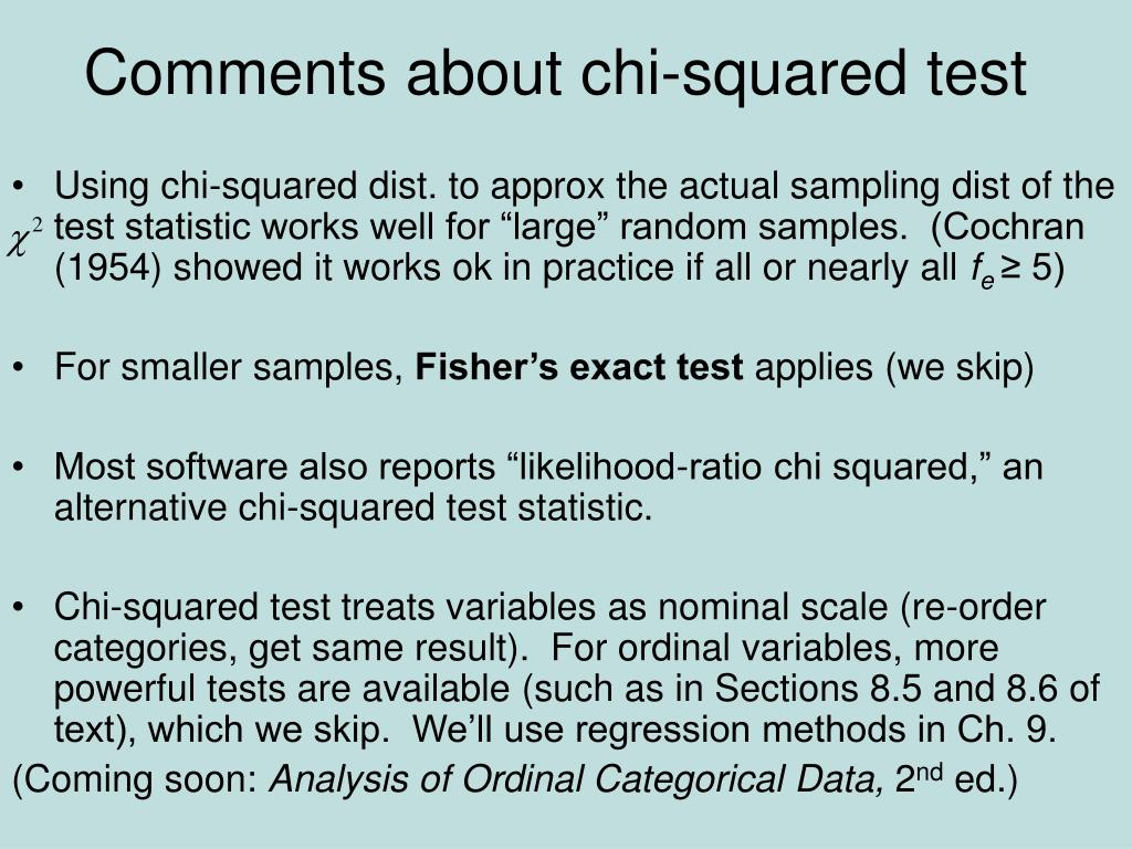 Comments about chi-squared test