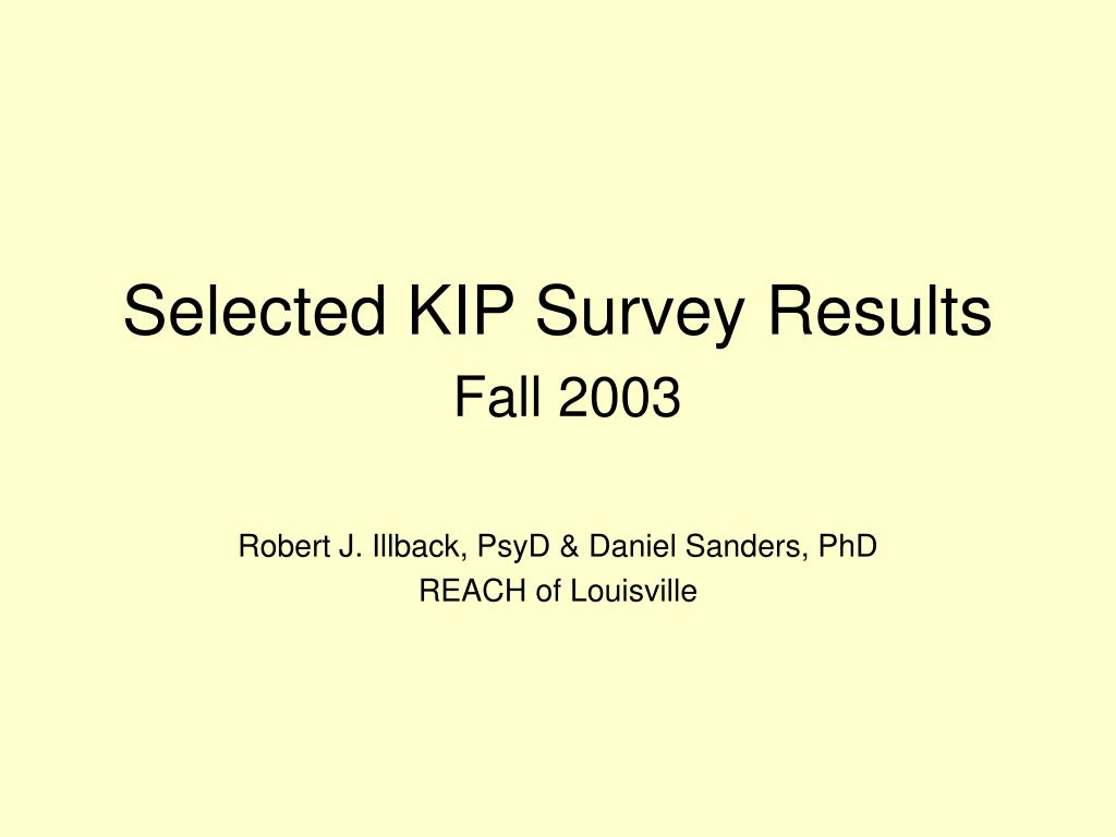 Selected KIP Survey Results