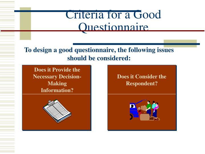 Criteria for a Good