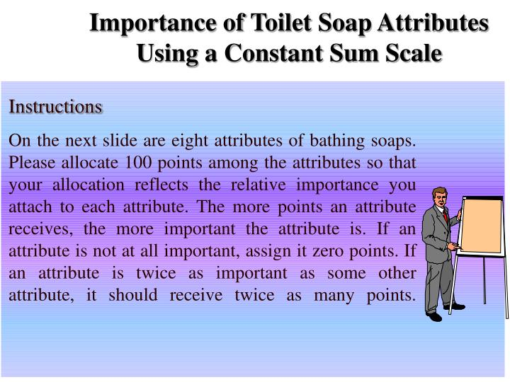 Importance of Toilet Soap Attributes Using a Constant Sum Scale
