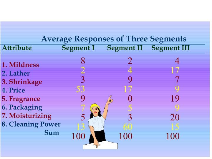 Average Responses of Three Segments