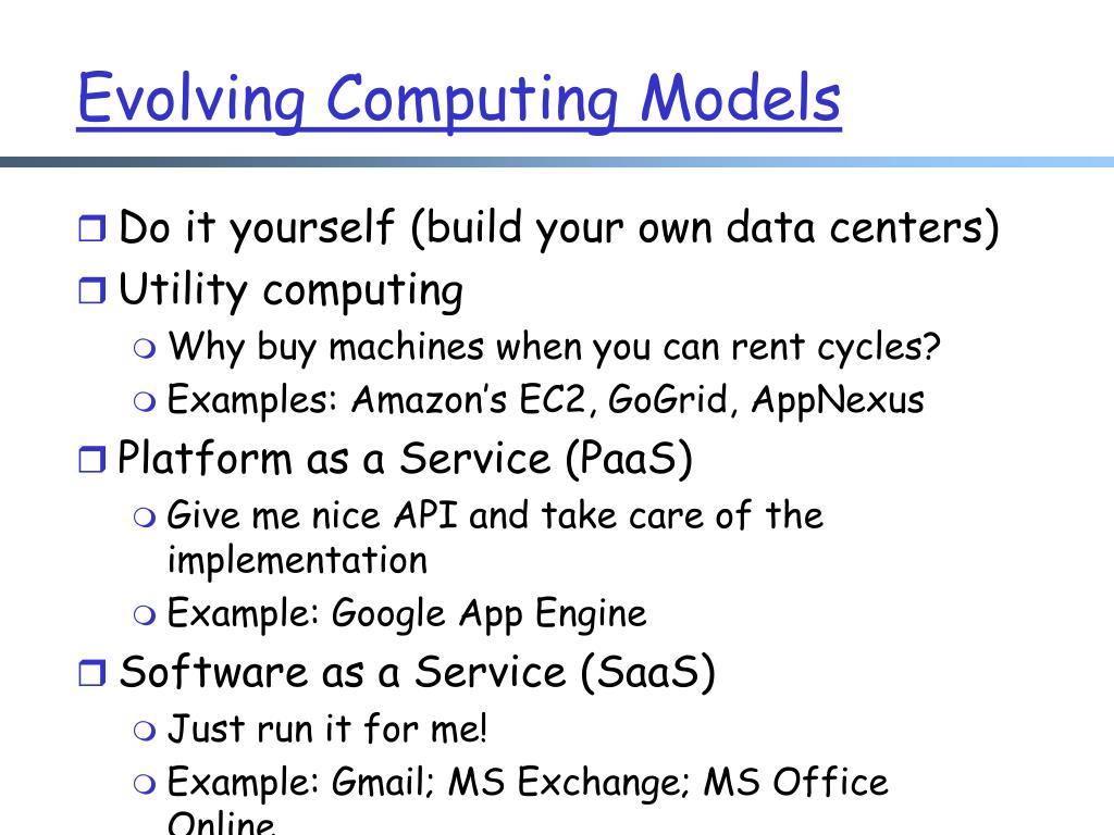 Evolving Computing Models