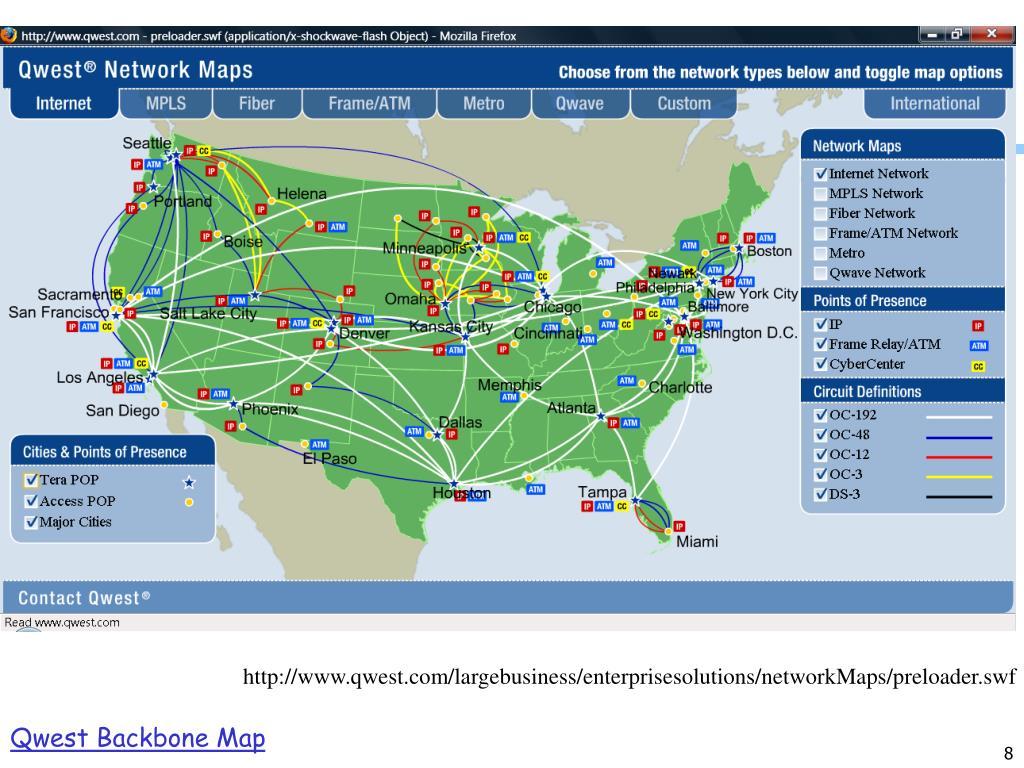 Qwest Backbone Map