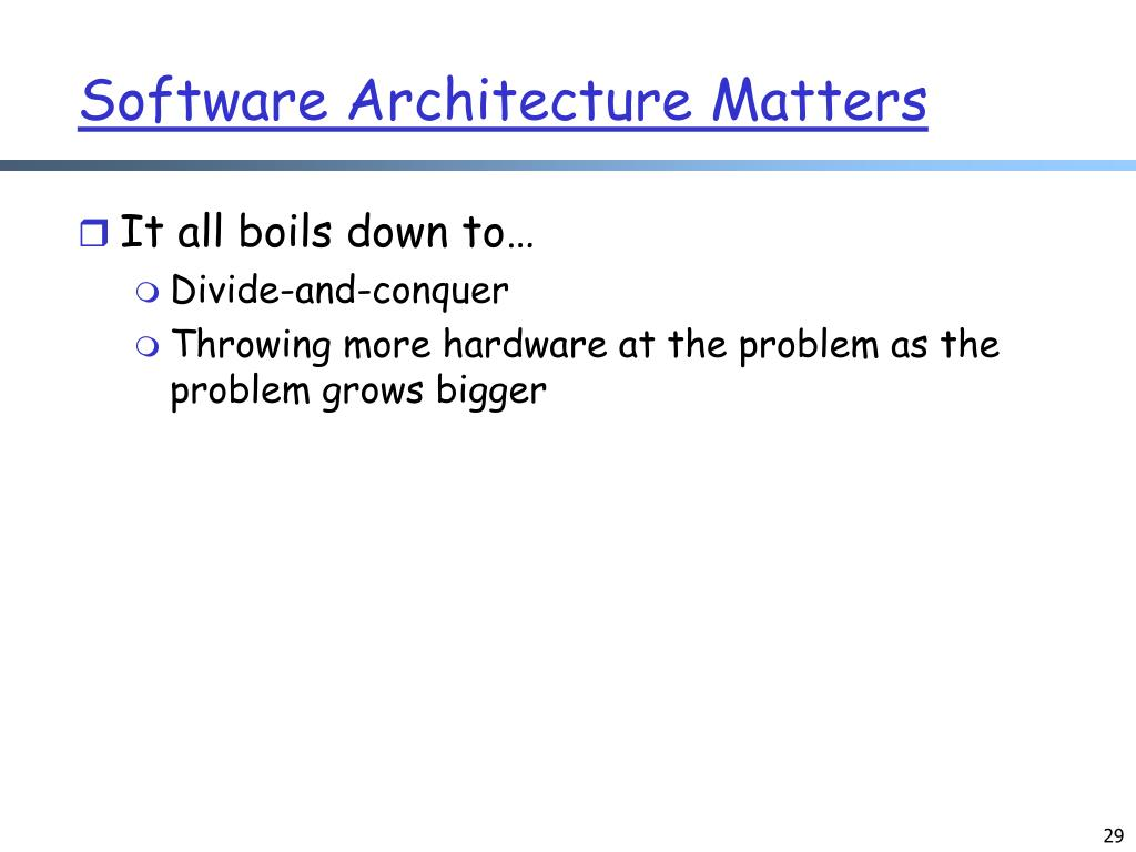 Software Architecture Matters