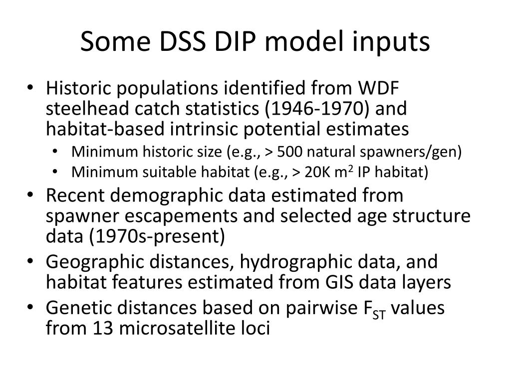 Some DSS DIP model inputs