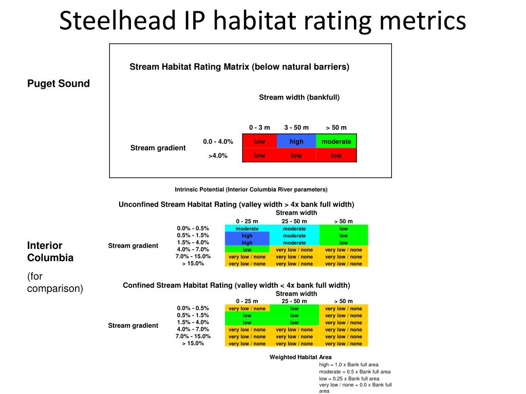 Steelhead IP habitat rating metrics
