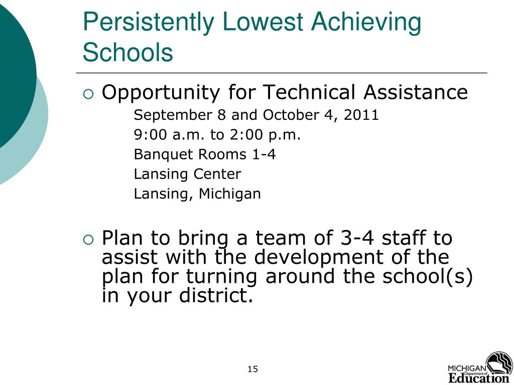 Persistently Lowest Achieving Schools