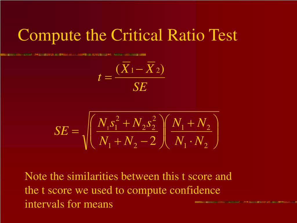 Compute the Critical Ratio Test