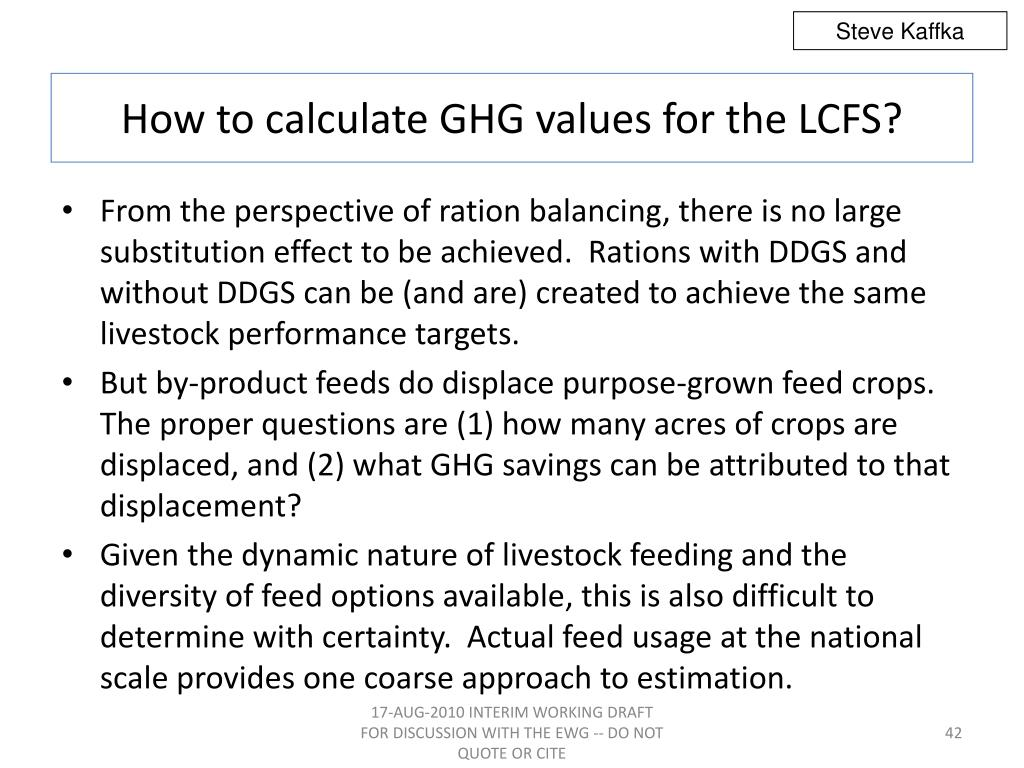 How to calculate GHG values for the LCFS?