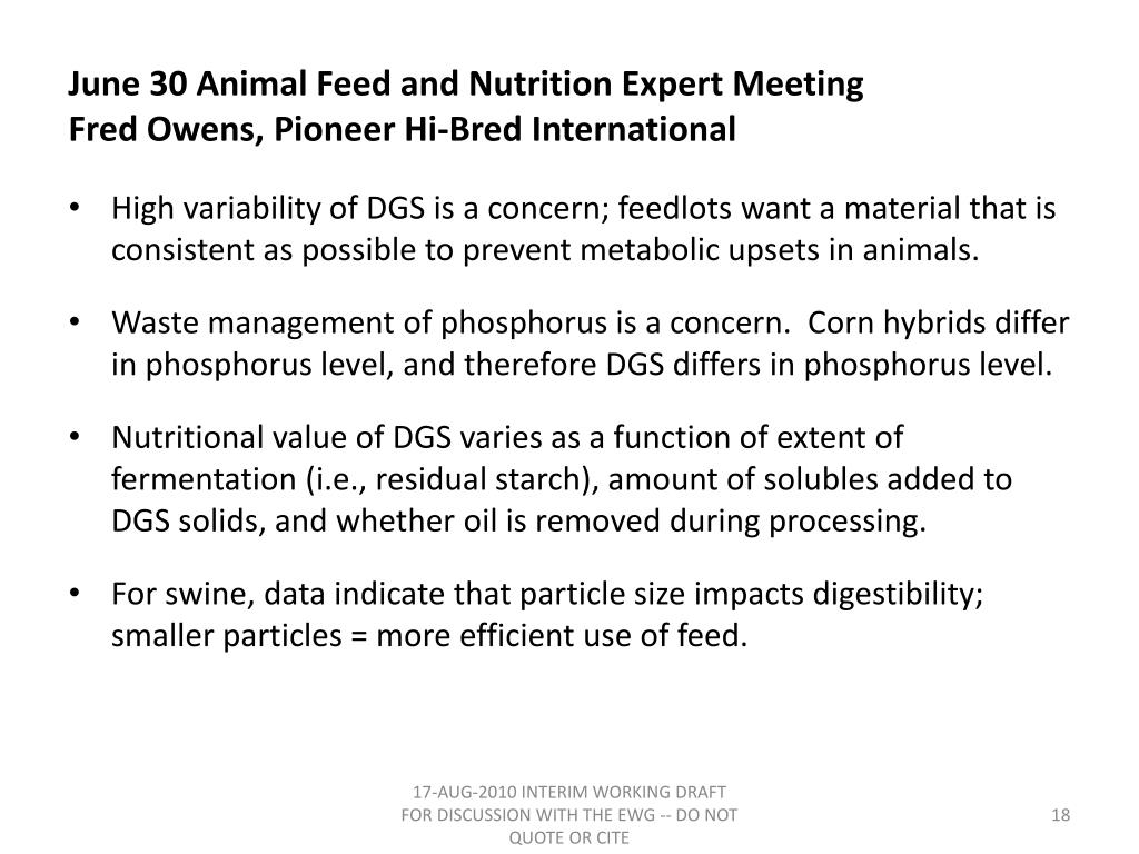 June 30 Animal Feed and Nutrition Expert Meeting