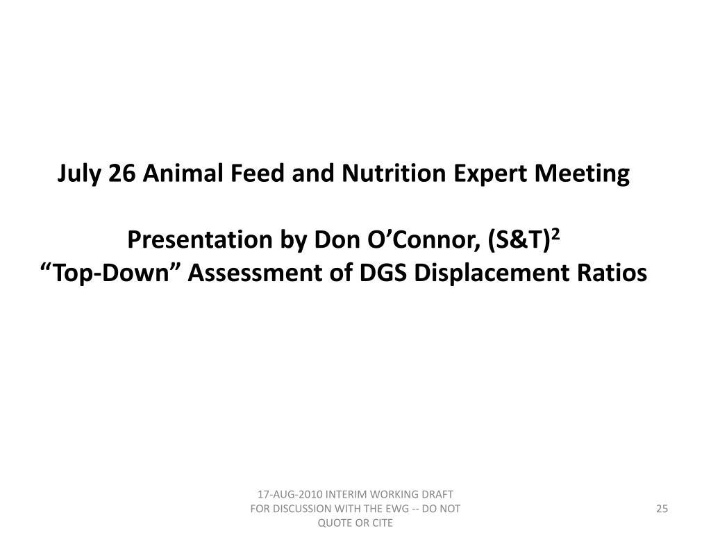 July 26 Animal Feed and Nutrition Expert Meeting